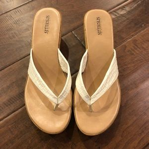 Seychelles' White Wedge Sandal